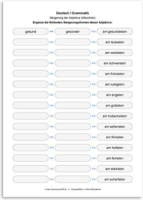 Download => Grammatik => Adjektive (Wiewörter) steigern (11)