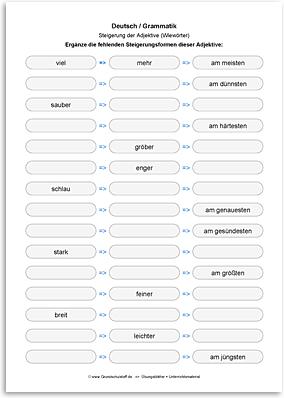 Download => Grammatik => Adjektive (Wiewörter) steigern (14)