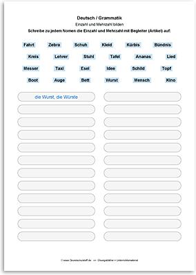 Download => Grammatik => Einzahl (Singular) und Mehrzahl (Plural) (1)