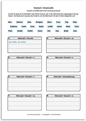Download => Grammatik => Singular und Plural (nach Endung) (2)