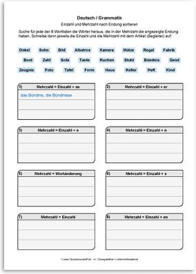 Download => Grammatik => Singular und Plural (nach Endung) (3)