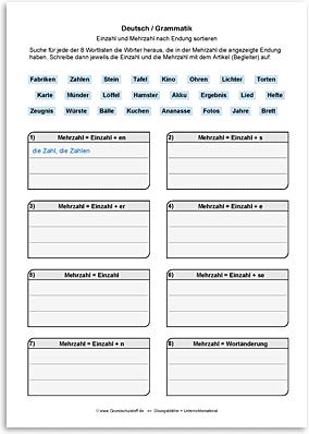 Download => Grammatik => Singular und Plural (nach Endung) (9)