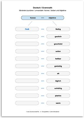 Download => Grammatik => Wortarten zuordnen oder umwandeln (22)