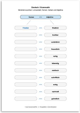 Download => Grammatik => Wortarten zuordnen oder umwandeln (23)