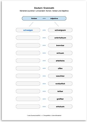 Download => Grammatik => Wortarten zuordnen oder umwandeln (33)