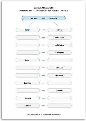 Download => Grammatik => Wortarten zuordnen oder umwandeln (34)