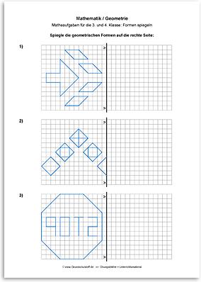 arbeitsblatt mathematik geometrie geometrische formen spiegeln nr. Black Bedroom Furniture Sets. Home Design Ideas