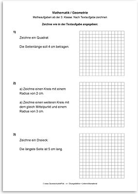Download => Geometrie => Zeichnen nach Textaufgaben (2)