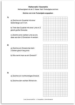 Download => Geometrie => Zeichnen nach Textaufgaben (3)