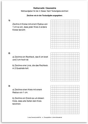Download => Geometrie => Zeichnen nach Textaufgaben (4)