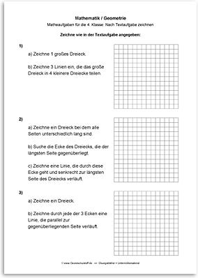 Download => Geometrie => Zeichnen nach Textaufgaben (5)