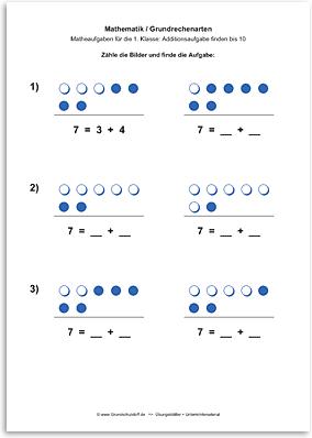 Download => Grundrechenarten => Addition: Aufgabe finden bis 10 (1)