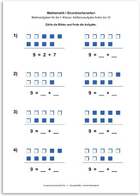 Download => Grundrechenarten => Addition: Aufgabe finden bis 10 (3)