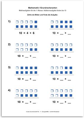 Download => Grundrechenarten => Addition: Aufgabe finden bis 10 (4)