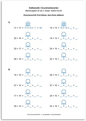 Download => Grundrechenarten => Addieren bis 100 mit Zehnerübergang (11)