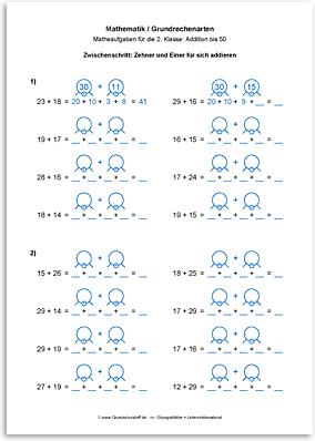 Download => Grundrechenarten => Addieren bis 100 mit Zehnerübergang (12)