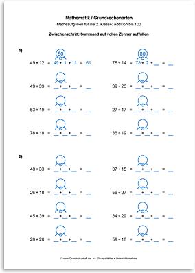 Download => Grundrechenarten => Addieren bis 100 mit Zehnerübergang (15)