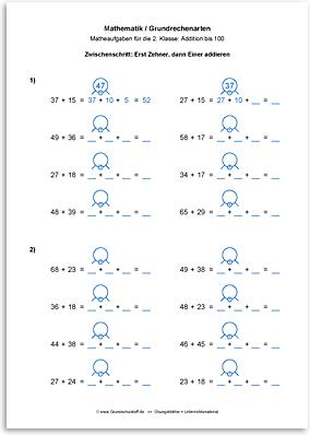 Download => Grundrechenarten => Addieren bis 100 mit Zehnerübergang (16)