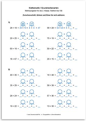 Download => Grundrechenarten => Addieren bis 100 mit Zehnerübergang (17)