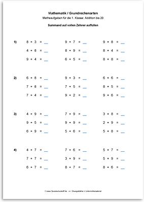 Download => Grundrechenarten => Addieren bis 100 mit Zehnerübergang (2)