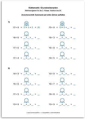 Download => Grundrechenarten => Addieren bis 100 mit Zehnerübergang (4)