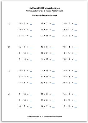 Download => Grundrechenarten => Addieren bis 100 mit Zehnerübergang (5)