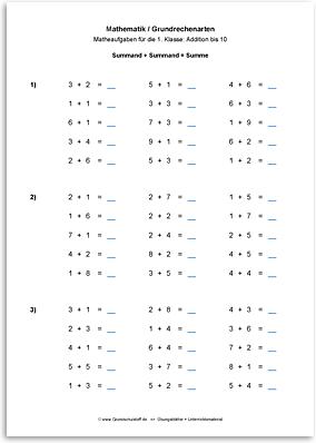 Download => Grundrechenarten => Addieren bis 100 ohne Zehnerübergang (1)