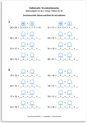 Download => Grundrechenarten => Addieren bis 100 ohne Zehnerübergang (10)