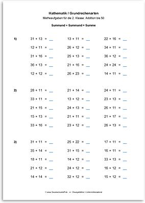 Download => Grundrechenarten => Addieren bis 100 ohne Zehnerübergang (11)