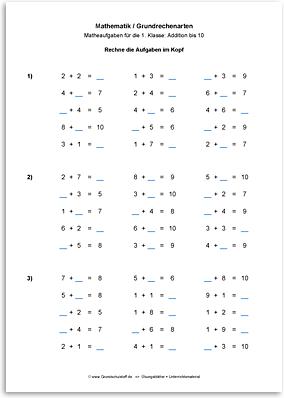 Download => Grundrechenarten => Addieren bis 100 ohne Zehnerübergang (2)