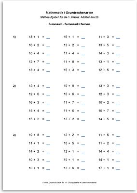 Download => Grundrechenarten => Addieren bis 100 ohne Zehnerübergang (3)