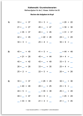 Download => Grundrechenarten => Addieren bis 100 ohne Zehnerübergang (6)