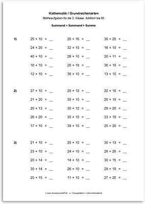 Download => Grundrechenarten => Addieren bis 100 ohne Zehnerübergang (7)