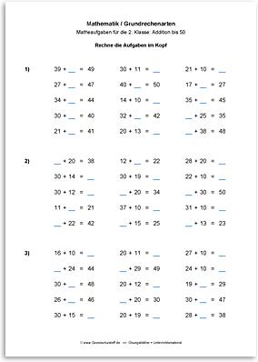 Download => Grundrechenarten => Addieren bis 100 ohne Zehnerübergang (8)