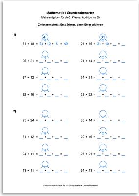 Download => Grundrechenarten => Addieren bis 100 ohne Zehnerübergang (9)
