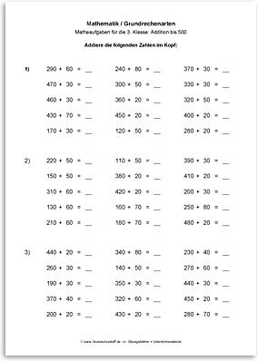 Download => Grundrechenarten => Addition bis 1000 im Kopf (1)