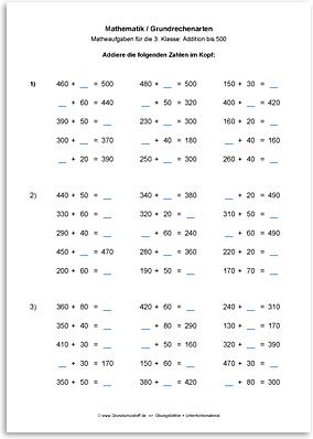 Download => Grundrechenarten => Addition bis 1000 im Kopf (2)