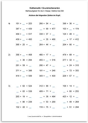 Download => Grundrechenarten => Addition bis 1000 im Kopf (6)