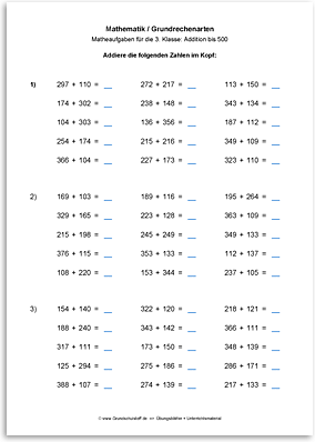 Download => Grundrechenarten => Addition bis 1000 im Kopf (7)
