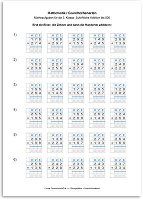Download => Grundrechenarten => Schriftlich addieren bis 1000 (1)