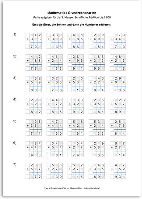 Download => Grundrechenarten => Schriftlich addieren bis 1000 (10)