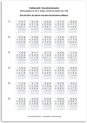 arbeitsblatt mathematik grundrechenarten addition schriftlich addieren bis 1000 nr. Black Bedroom Furniture Sets. Home Design Ideas