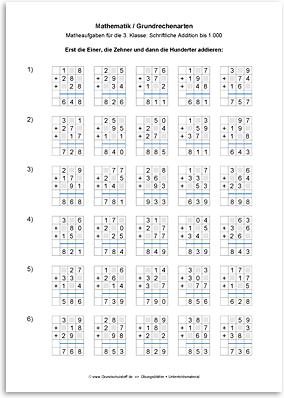 Download => Grundrechenarten => Schriftlich addieren bis 1000 (12)