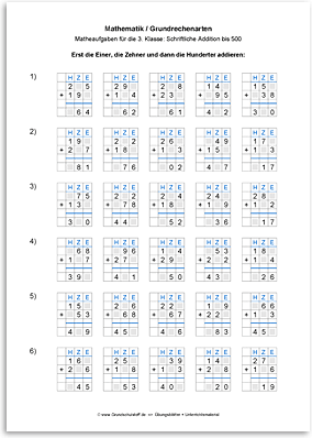 Download => Grundrechenarten => Schriftlich addieren bis 1000 (2)