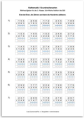 Download => Grundrechenarten => Schriftlich addieren bis 1000 (3)