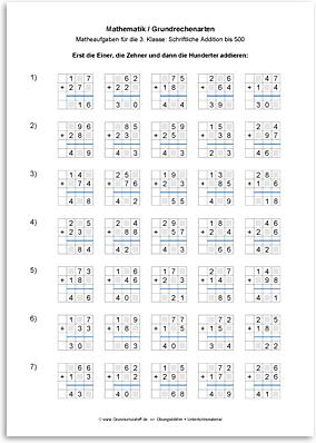Download => Grundrechenarten => Schriftlich addieren bis 1000 (4)