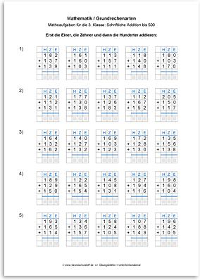 Download => Grundrechenarten => Schriftlich addieren bis 1000 (5)
