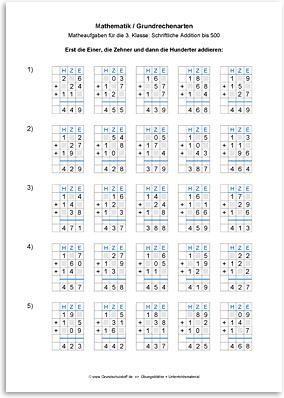 Download => Grundrechenarten => Schriftlich addieren bis 1000 (6)
