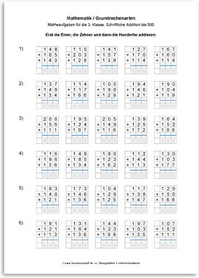 Download => Grundrechenarten => Schriftlich addieren bis 1000 (7)