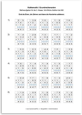 Download => Grundrechenarten => Schriftlich addieren bis 1000 (8)